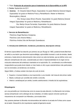 Protocolo de actuación para el tratamiento de la Epicondilitis
