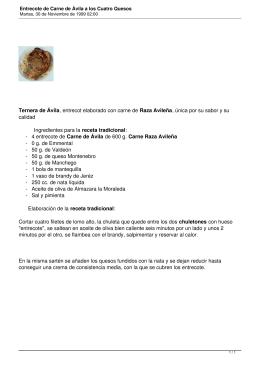 Entrecote de Carne de Ávila a los Cuatro Quesos
