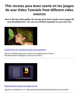 #Z recetas para tener suerte en los juegos de azar PDF