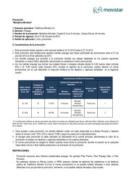 PROMOCIÓN PARA DE VENTA DE PINES Y RECARGAS