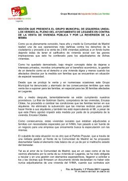 MOCIÓN QUE PRESENTA EL GRUPO MUNICIPAL DE IZQUIERDA