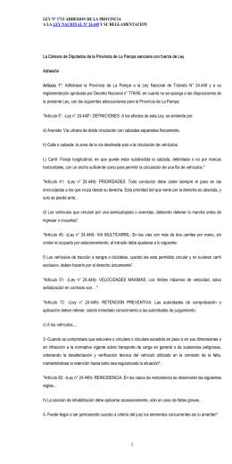 Ley Provincial Nº 1713 de Adhesión a la Ley Nacional de Tránsito