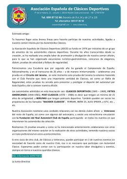 Carta de bienvenida - Asociación Española de Clásicos Deportivos