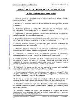 temario oficial de oposiciones de la especialidad de mantenimiento