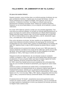 """FALLA NORTE – DR. ZAMENHOFF Nº 205 """"EL CLAVELL"""""""