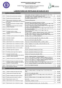 lista de precios suelos 2013. - Universidad de Bogotá Jorge Tadeo