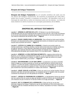 SINOPSIS DEL ANTIGUO TESTAMENTO