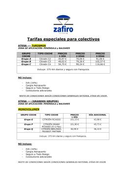 OFERTA ESPECIAL COCHES ALQUILER para COLECTIVOS