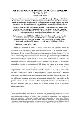 EL DISEÑADOR DE SONIDO: FUNCIÓN Y ESQUEMA DE TRABAJO