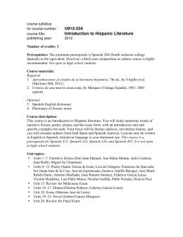 U912-224 Introduction to Hispanic Literature