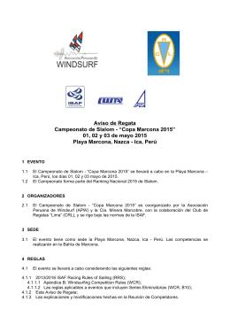 Aviso de Regata - Asociación Peruana de Windsurf