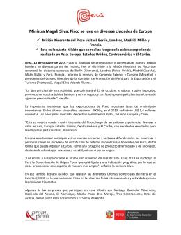 Ministra Magali Silva: Pisco se luce en diversas