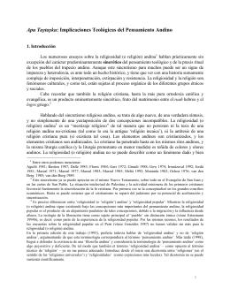 Apu Taytayku: Implicaciones Teológicas del Pensamiento Andino
