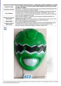 """Juguetes: """"Máscara de Color Verde Personaje POWER RANGER"""