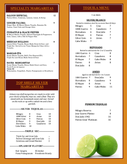 TOP SHELF SILVER MARGARITAS TEQUILA MENU SPECIALTY