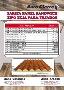 TARIFA PANEL SANDWICH TIPO TEJA PARA TEJADOS