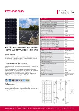 TECHNO SUN - Panel solar de 150W para instalaciones aisladas