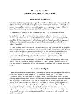 Diócesis de Stockton Normas sobre padrinos de bautismo.