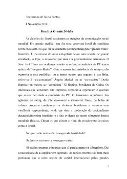 Brasil: A Grande Divisão - Boaventura de Sousa Santos