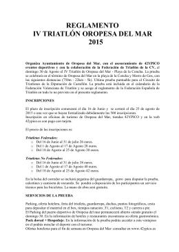 REGLAMENTO IV TRIATLÓN OROPESA DEL MAR 2015