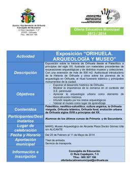 """Exposición """"ORIHUELA. ARQUEOLOGÍA Y MUSEO"""""""