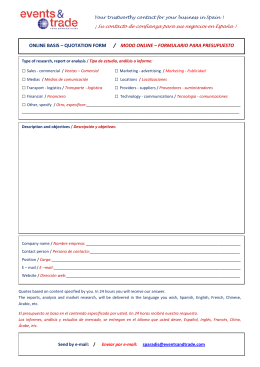 ONLINE BASIS – QUOTATION FORM / MODO ONLINE