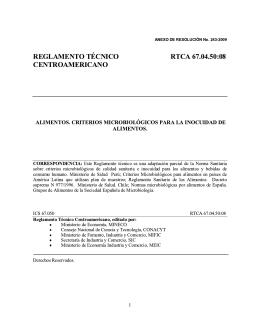 reglamento técnico rtca 67.04.50:08 centroamericano