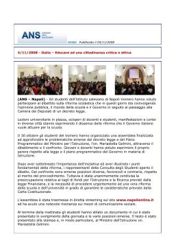ans-news sul dibattito legge gelmini