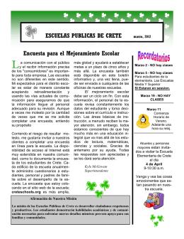 ESCUELAS PUBLICAS DE CRETE Encuesta para el Mejoramiento