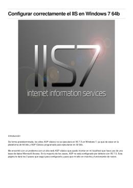 Configurar correctamente el IIS en Windows 7 64b