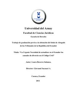 Universidad del Azuay Facultad de Ciencias Jurídicas