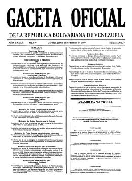 gaceta oficial nº 39.127 del 26 de febrero de 2009