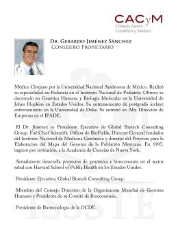 Dr. Gerardo Jiménez Sánchez Consejero Propietario Médico