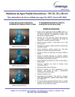 Medidores de Agua Potable Domiciliarios – DN 25, 32 y 38 mm