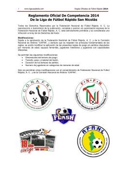 Reglamento Oficial De Competencia de Fútbol Rápido 2014
