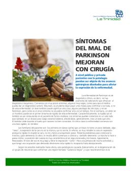 Síntomas del Mal de Parkinson mejoran con Cirugía