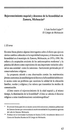 Rejuvenecimiento nupcial y descenso de la fecundidad en Zamora