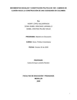 movimientos sociales y constitución política de 1991
