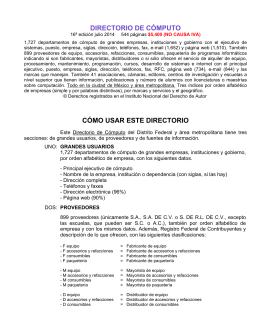 DIRECTORIO DE CÓMPUTO CÓMO USAR ESTE DIRECTORIO