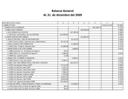 Balance General AL 31 de diciembre del 2009