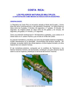 Costa Rica y los peligros naturales múltiples