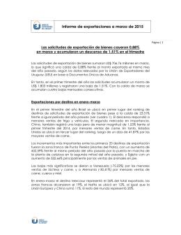 Informe de exportaciones a marzo de 2015