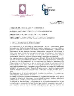 Organización y Estructuras - Universidad Nacional de Lomas de