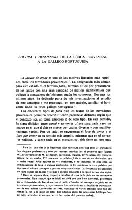 Locura y Desmesura de la Lírica Provenzal a la Gallego