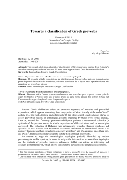 Towards a classification of Greek proverbs