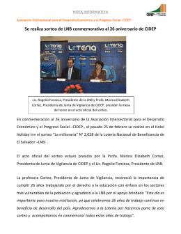 Se realiza sorteo de LNB conmemorativo al 26 aniversario de CIDEP