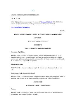 LEY 19550- 84 DE SOCIEDADES COMERCIALES