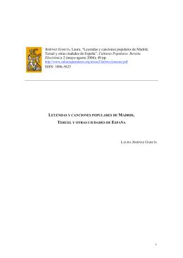 """1 JIMÉNEZ GARCÍA, Laura. """"Leyendas y canciones populares de"""