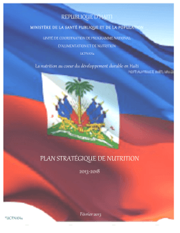 Plan Strategique Nutrition 2013