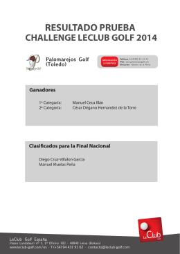 RESULTADO PRUEBA - Challenge LeClub Golf España 2014